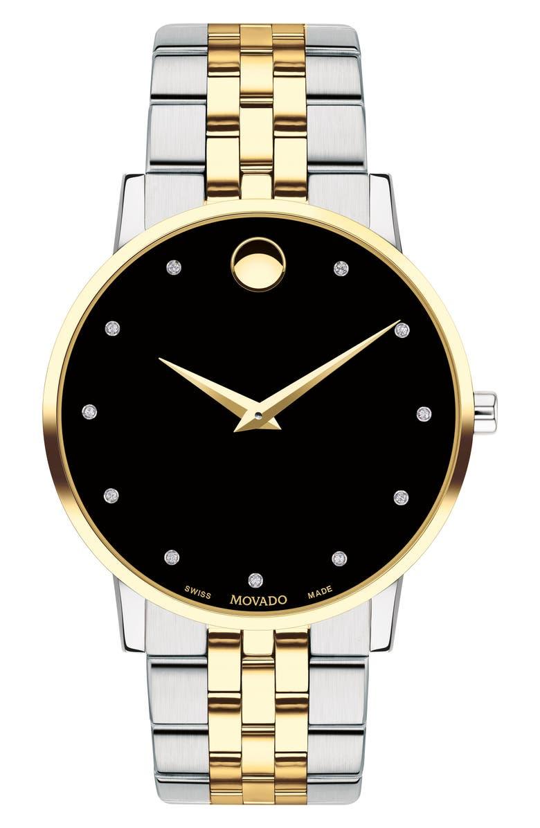 MOVADO Museum Diamond Bracelet Watch, 40mm, Main, color, SILVER/ BLACK/ GOLD