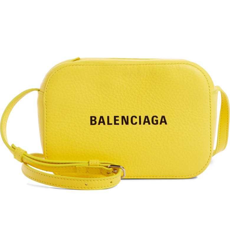 BALENCIAGA Extra Small Everyday Calfskin Camera Bag, Main, color, JAUNE SOLEIL/ NOIR