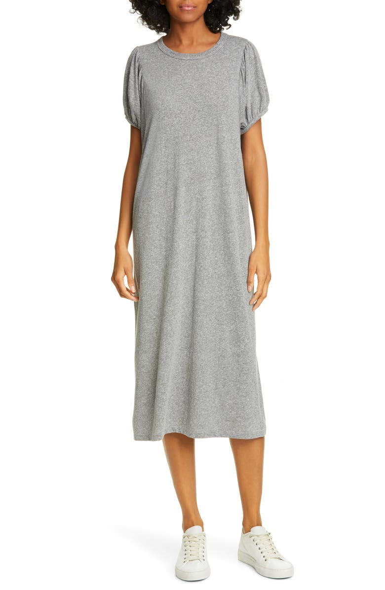 THE GREAT. The Puff Sleeve Dress, Main, color, HEATHER GREY