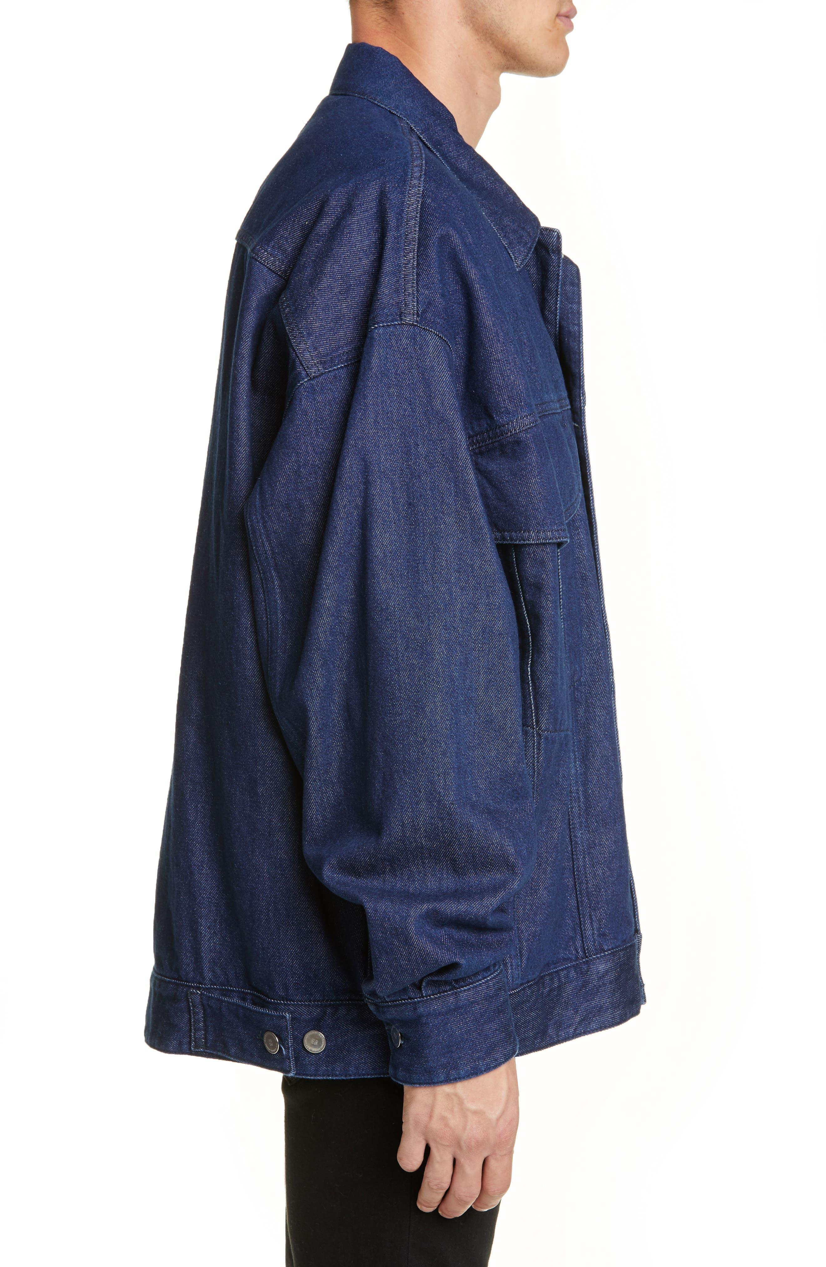 ,                             Punkette Oversize Denim Jacket,                             Alternate thumbnail 3, color,                             DARK NAVY