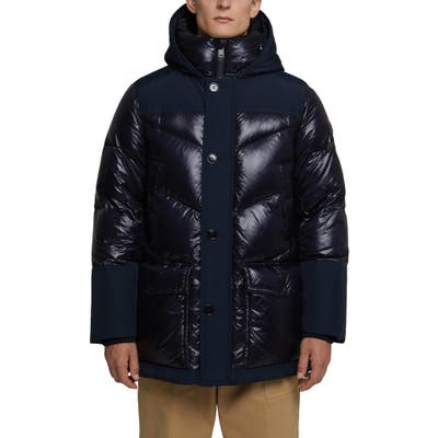 Woolrich Logo Arctic Down Hooded Puffer Coat, Blue