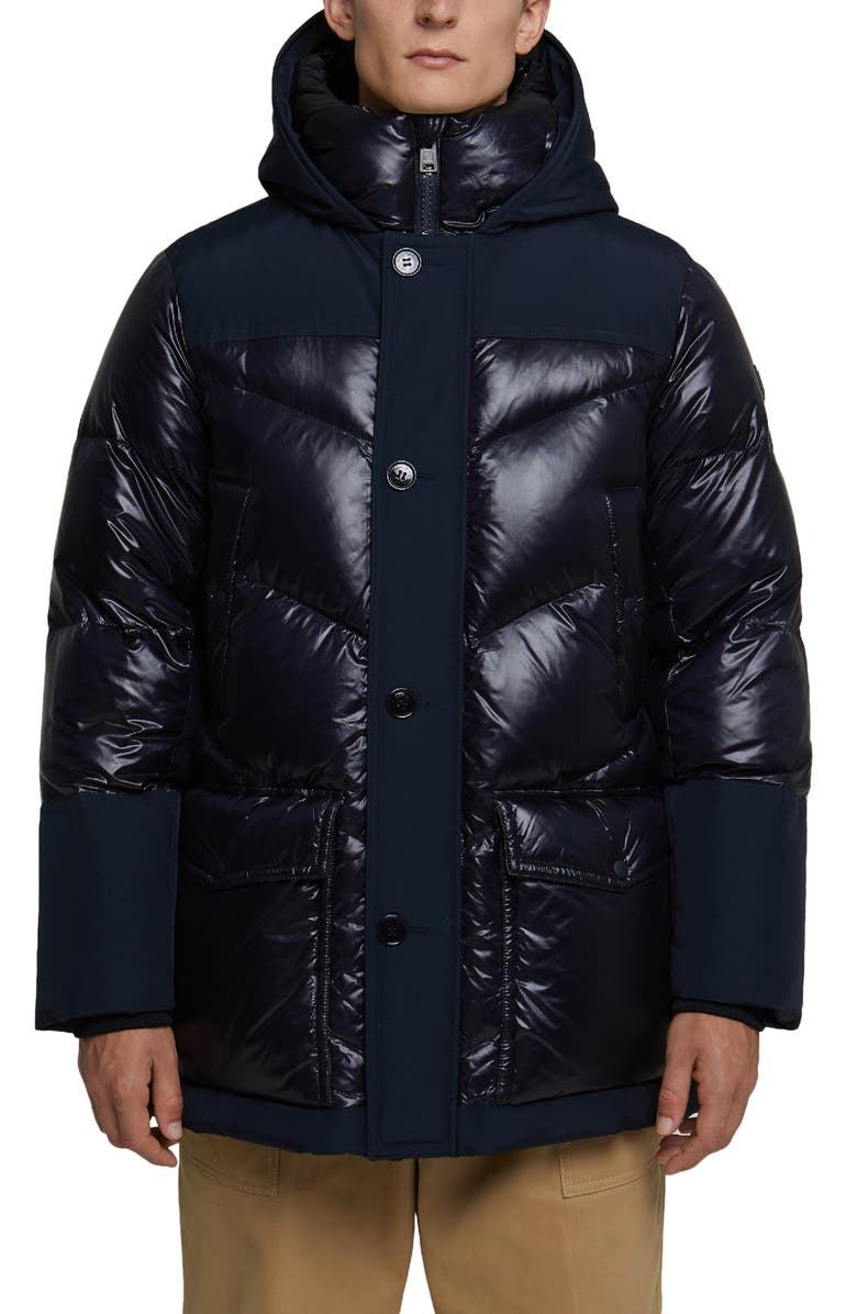WOOLRICH Logo Arctic Down Hooded Puffer Coat, Main, color, MELTON BLUE