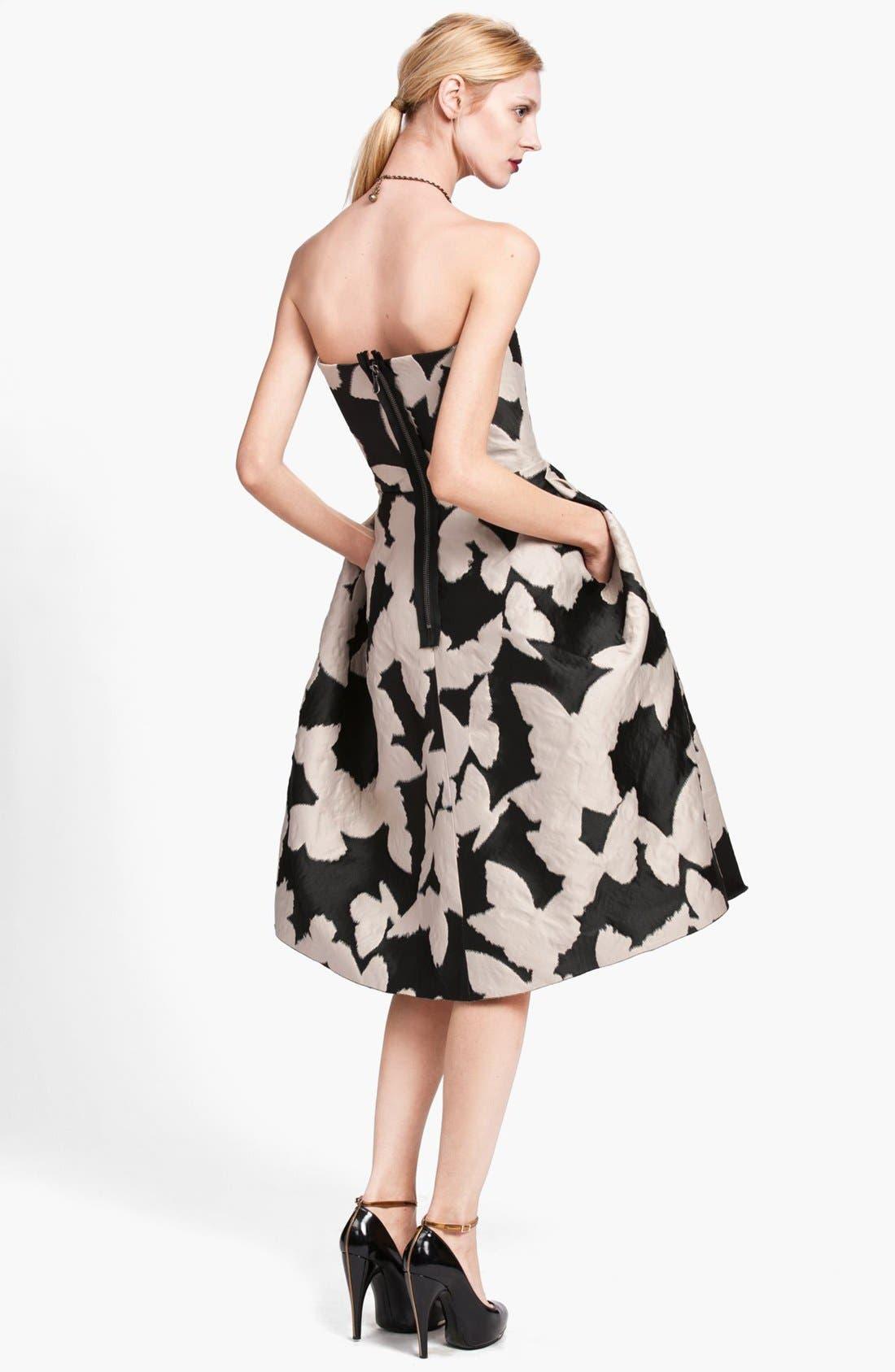 ,                             Butterfly Jacquard Strapless Dress,                             Alternate thumbnail 2, color,                             001