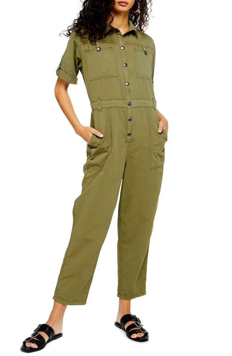 TOPSHOP Boiler Jumpsuit, Main, color, OLIVE