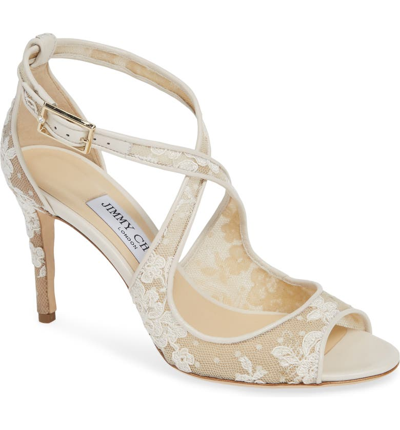 JIMMY CHOO Emily Crisscross Sandal, Main, color, IVORY