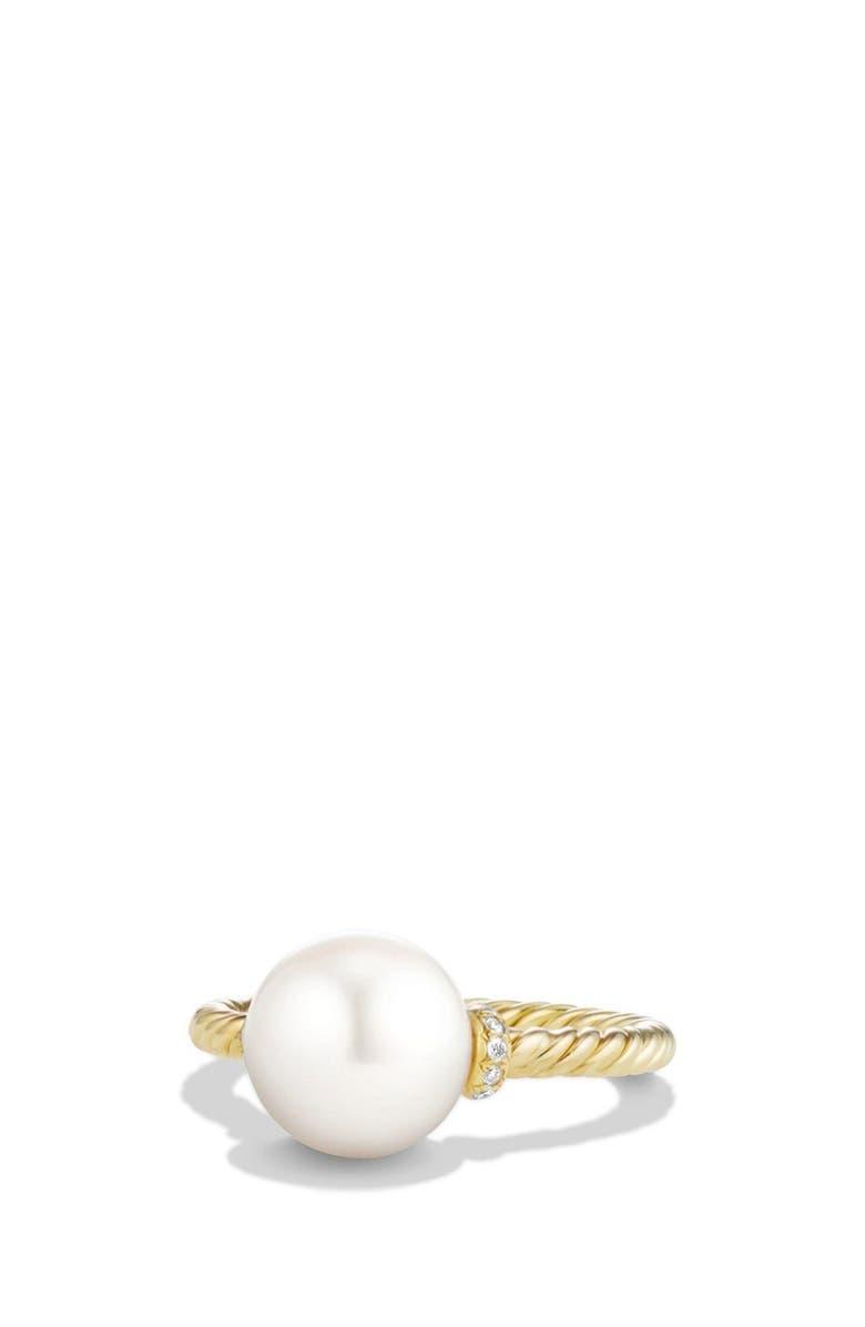 DAVID YURMAN 'Solari' Station Ring with Diamonds and Pearls, Main, color, PEARL