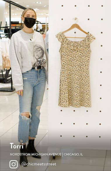 Kimmie Floral Ruffle Neck Minidress, sales video thumbnail