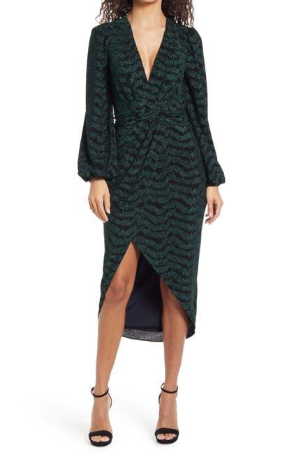 Image of Saylor Camila Plunge Neck Long Sleeve Midi Dress
