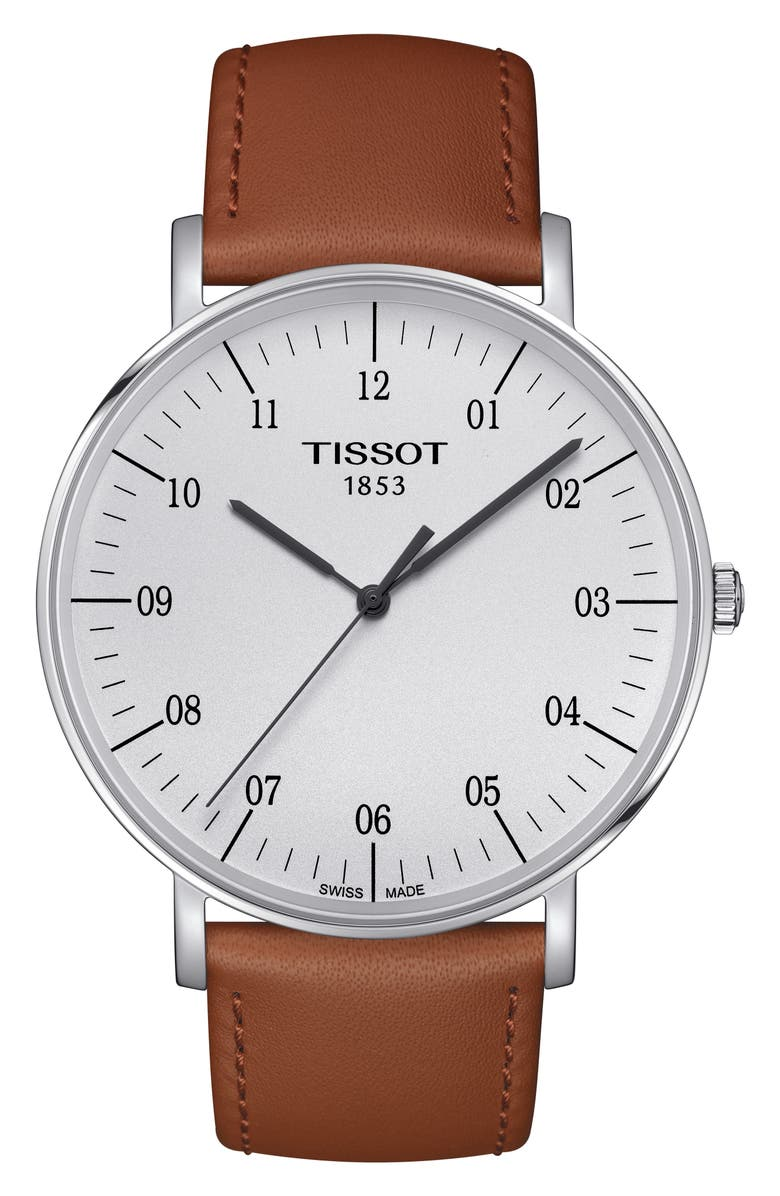 TISSOT Everytime Leather Strap Watch, 42mm, Main, color, BEIGE/ SILVER
