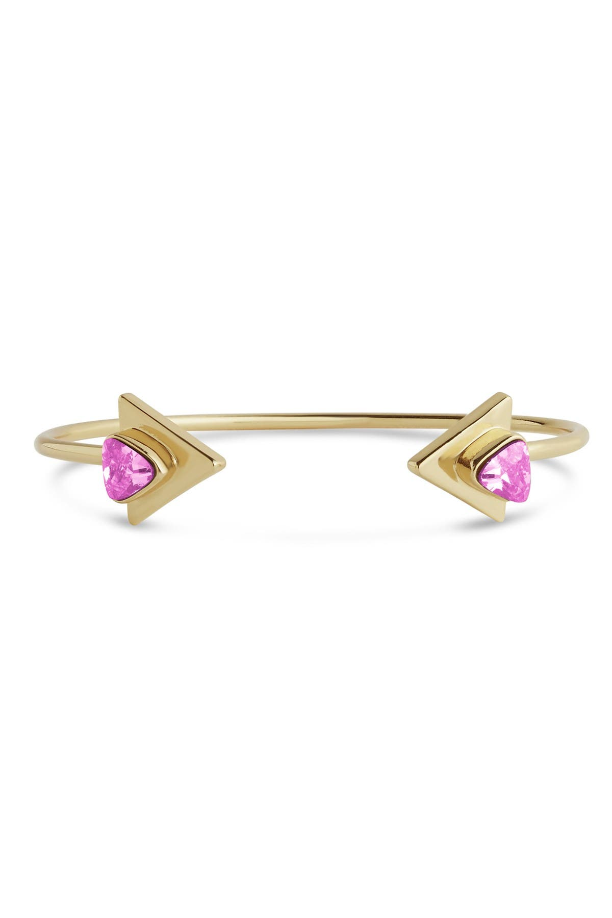 Sterling Forever 14K Gold Plated Pink CZ Triangle Open Cuff