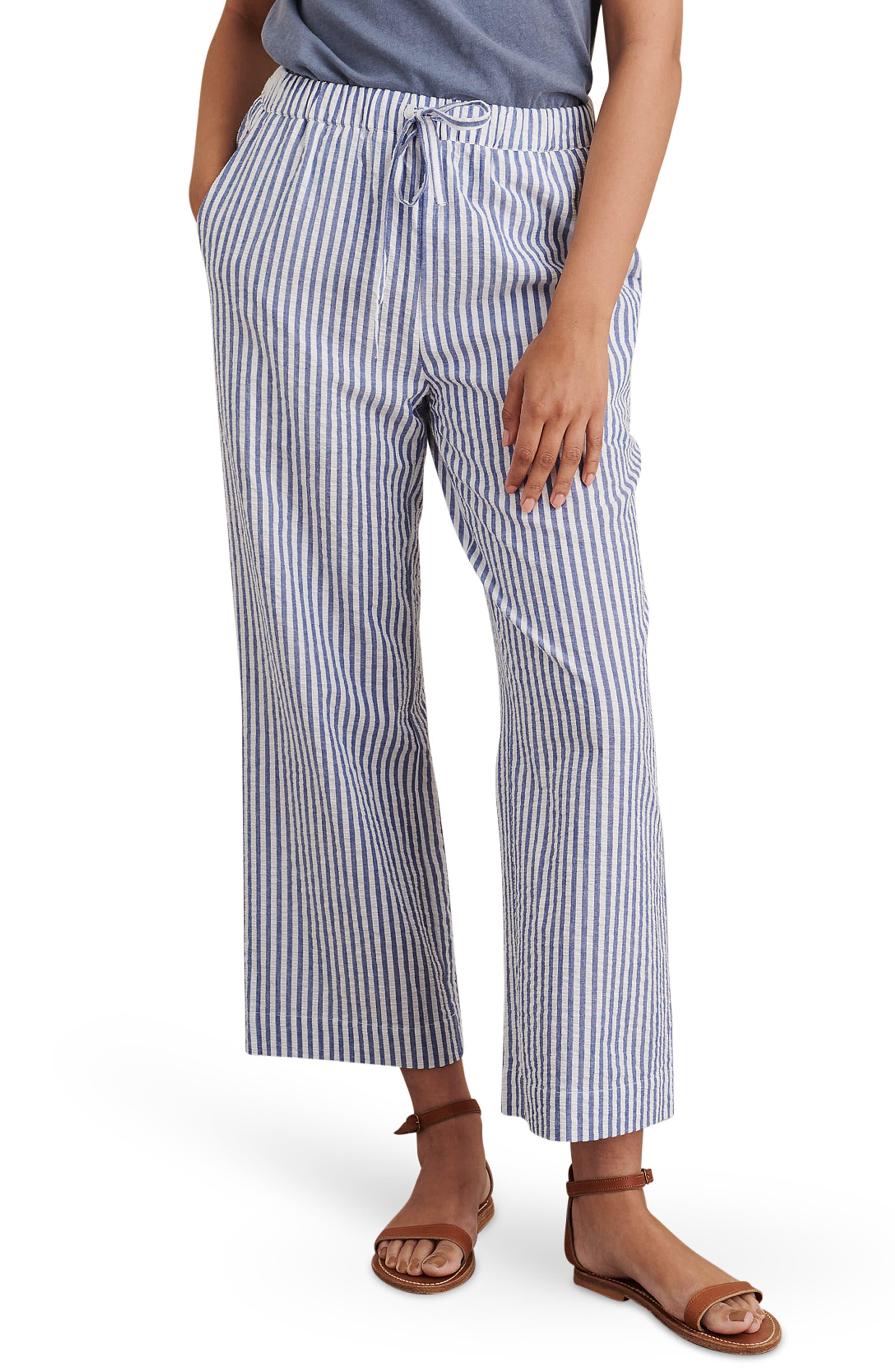 Stripe Seersucker Cotton Wide Leg Pants