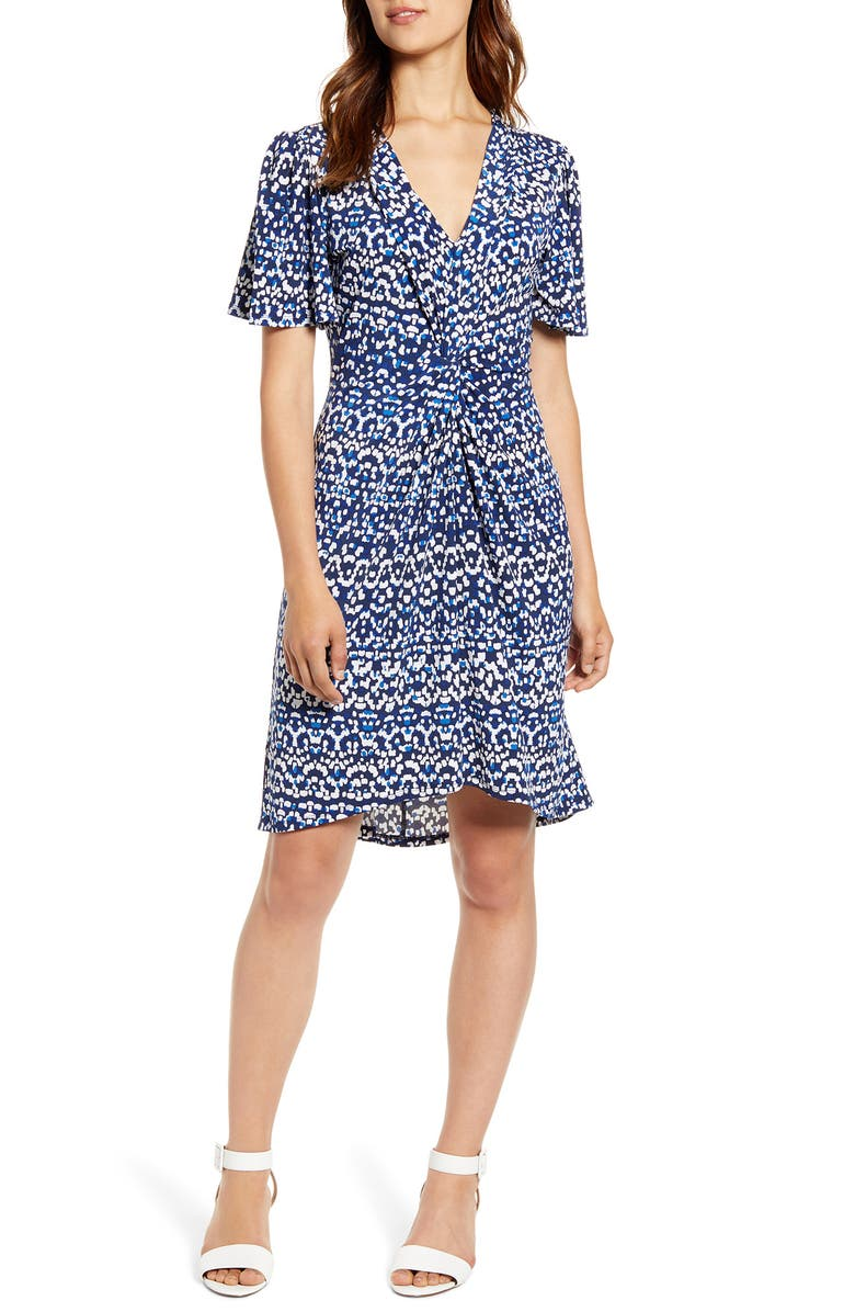 TOMMY BAHAMA Desi Dots Elbow Sleeve Dress, Main, color, ISLAND NAVY