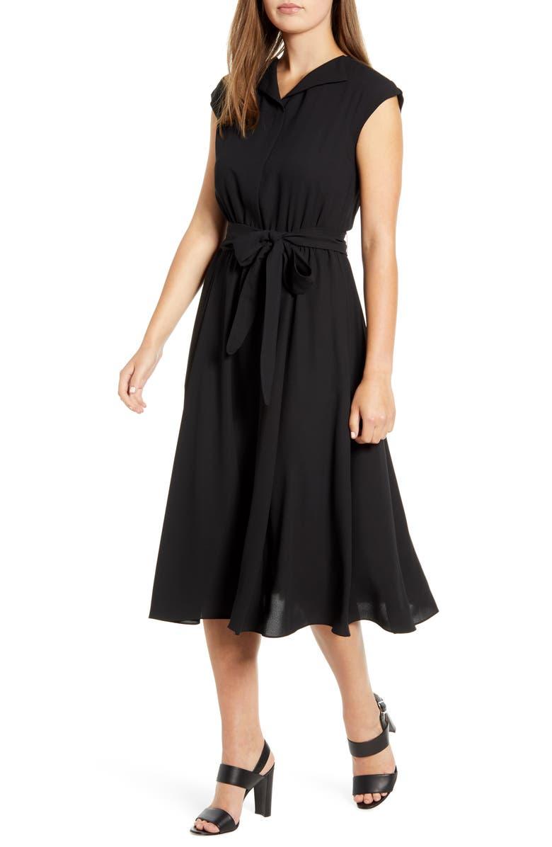 ANNE KLEIN Envelope Collar Midi Dress, Main, color, ANNE BLACK