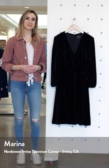 Velvet Long Sleeve Faux Wrap Dress, sales video thumbnail
