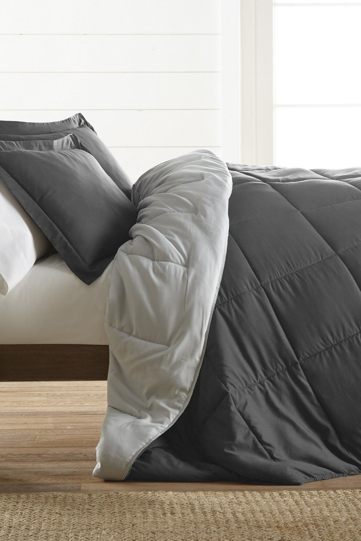 Image of IENJOY HOME Treat Yourself To The Ultimate Down Alternative Reversible 3-Piece Comforter Set - Gray - Queen
