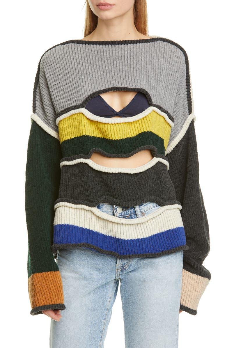 ECKHAUS LATTA Cutout Merino Wool Blend Sweater, Main, color, MULTI