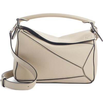 Loewe Small Puzzle Leather Shoulder Bag - Beige