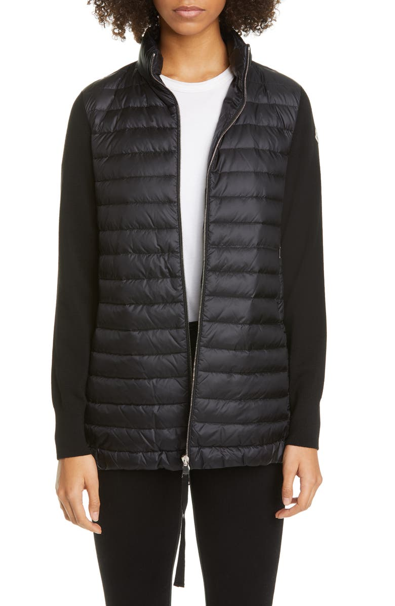 MONCLER Quilted Down & Wool Long Cardigan, Main, color, BLACK