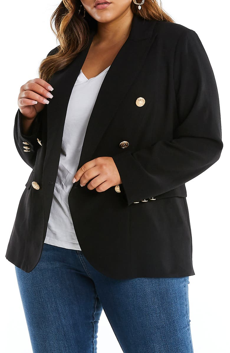 ESTELLE Clever Double Breasted Jacket, Main, color, BLACK