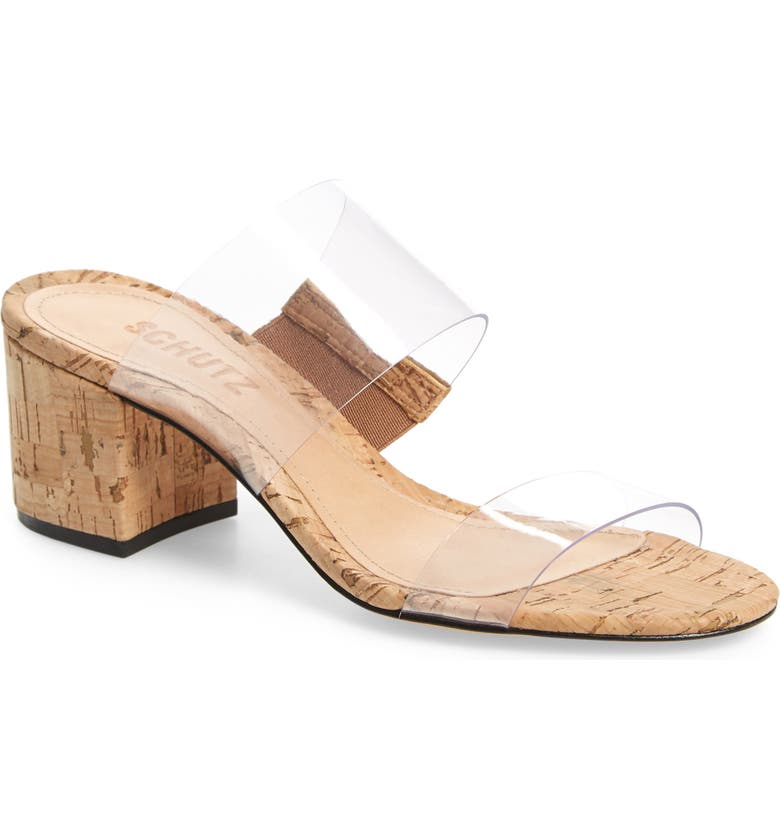 SCHUTZ Victorie Slide Sandal, Main, color, TRANSPARENT/ NATURAL