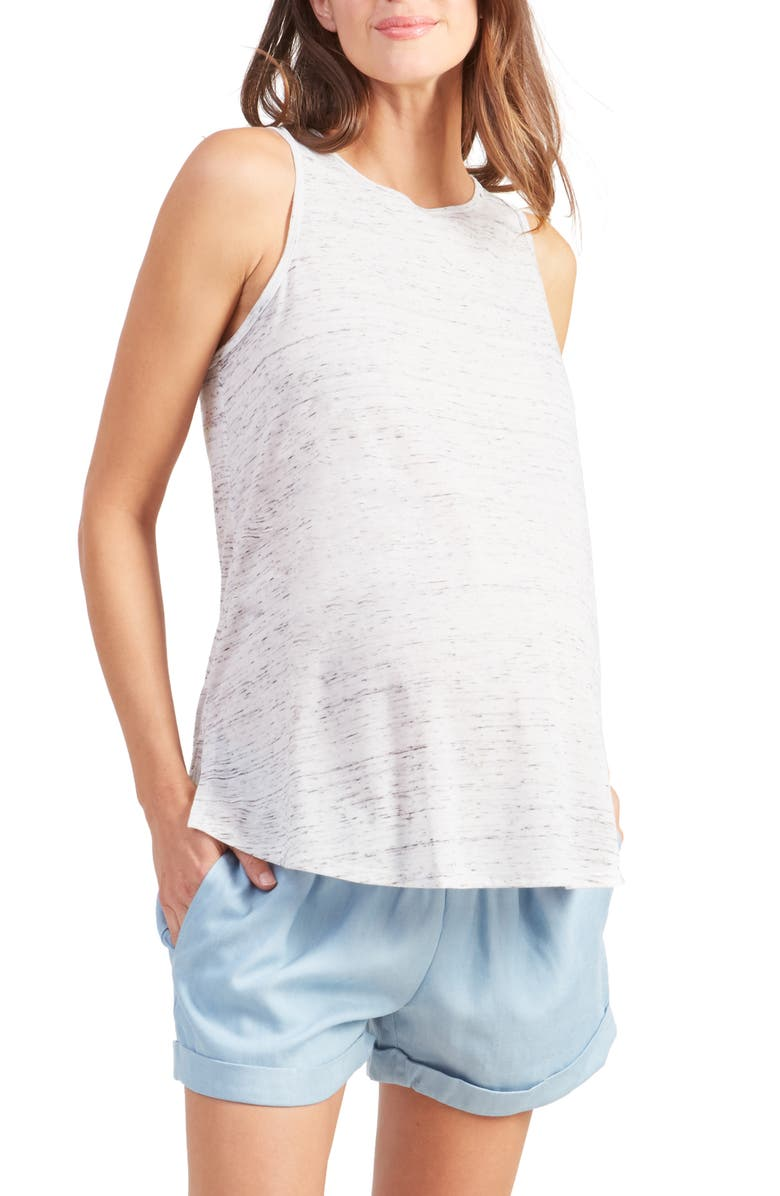 INGRID & ISABEL<SUP>®</SUP> Active Cross Back Maternity Tank, Main, color, WHITE MARBLE