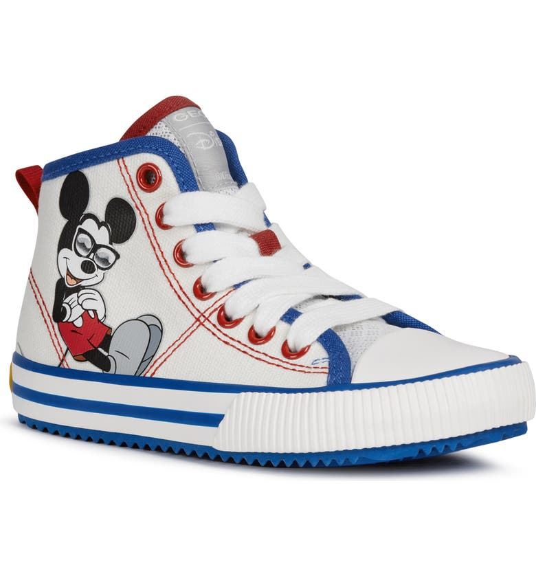 GEOX x Disney Alonisso 49 High Top Sneaker, Main, color, WHITE/ ROYAL