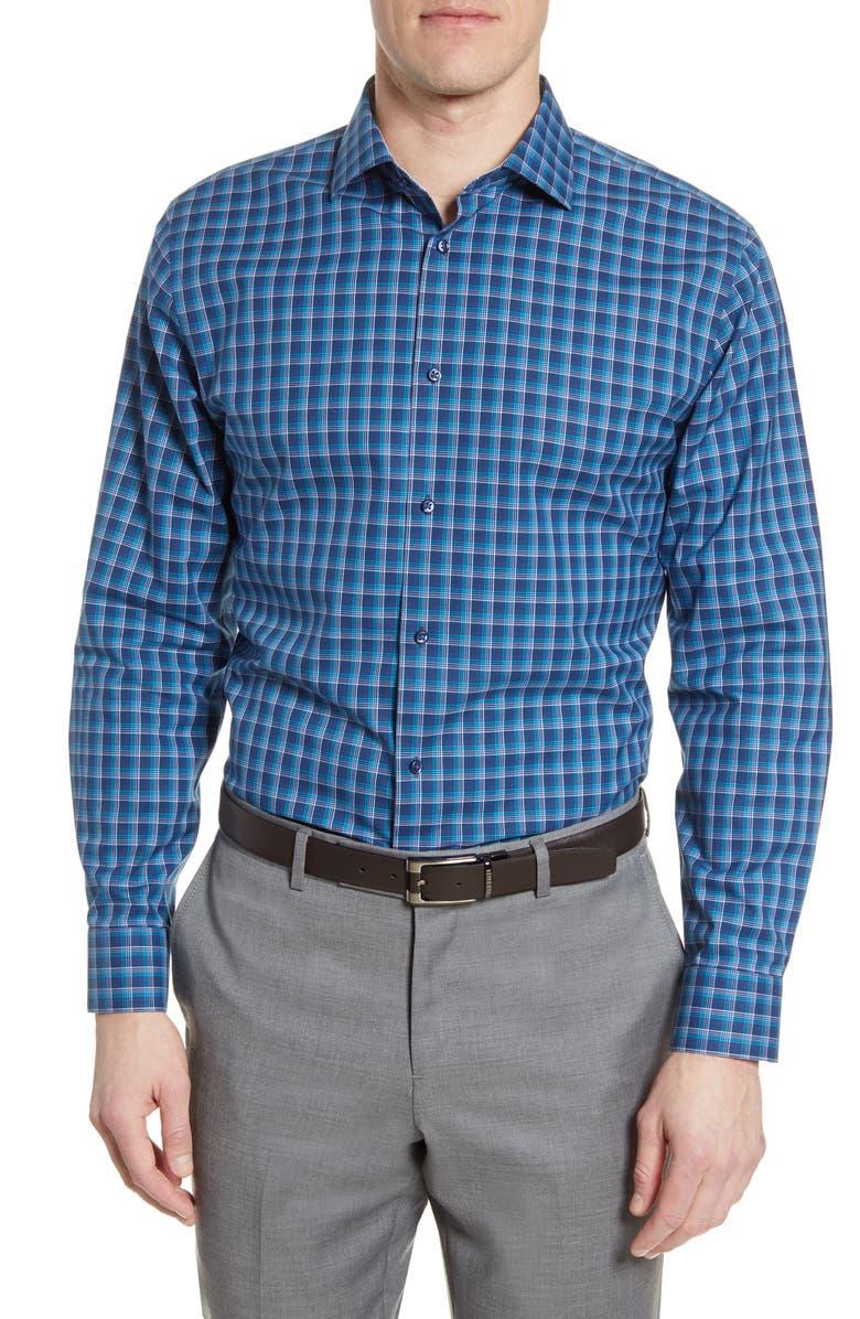 NORDSTROM MEN'S SHOP Trim Fit Non-Iron Plaid Dress Shirt, Main, color, 420