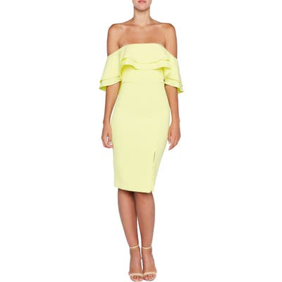 Bardot Off The Shoulder Body-Con Dress, Yellow