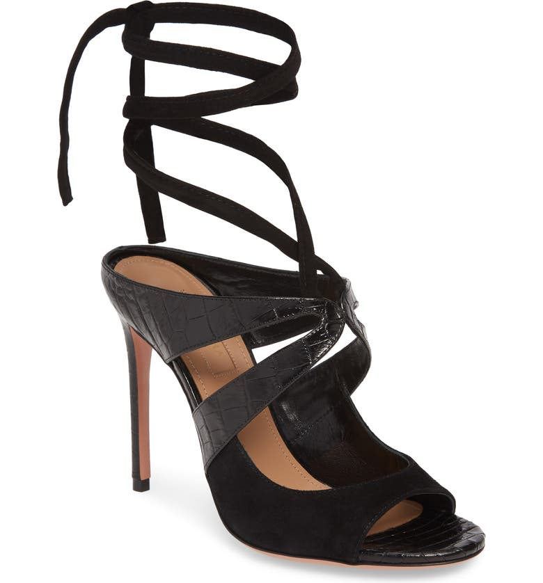 AQUAZZURA Mabel Ankle Strap Sandal, Main, color, BLACK SUEDE