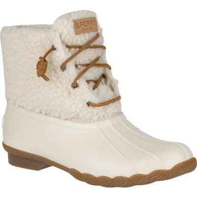 Sperry Saltwater Waterproof Rain Boot, Ivory