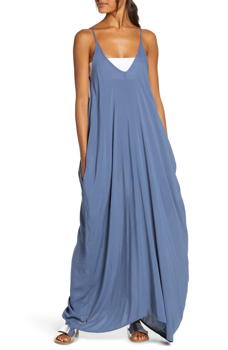 ELAN V-Back Cover-Up Maxi Dress, Main, color, BLUE DENIM