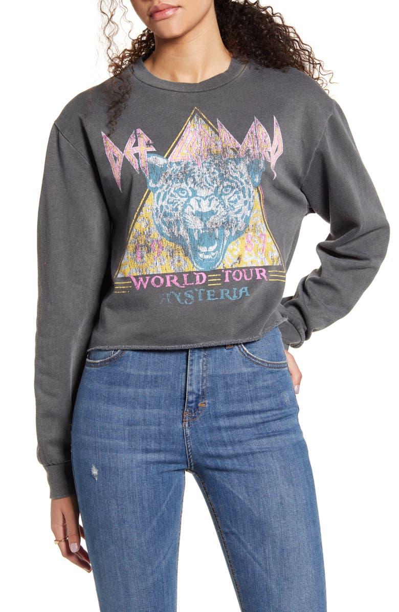 VINYL ICONS Def Leppard Crop Sweatshirt, Main, color, WASHED BLACK