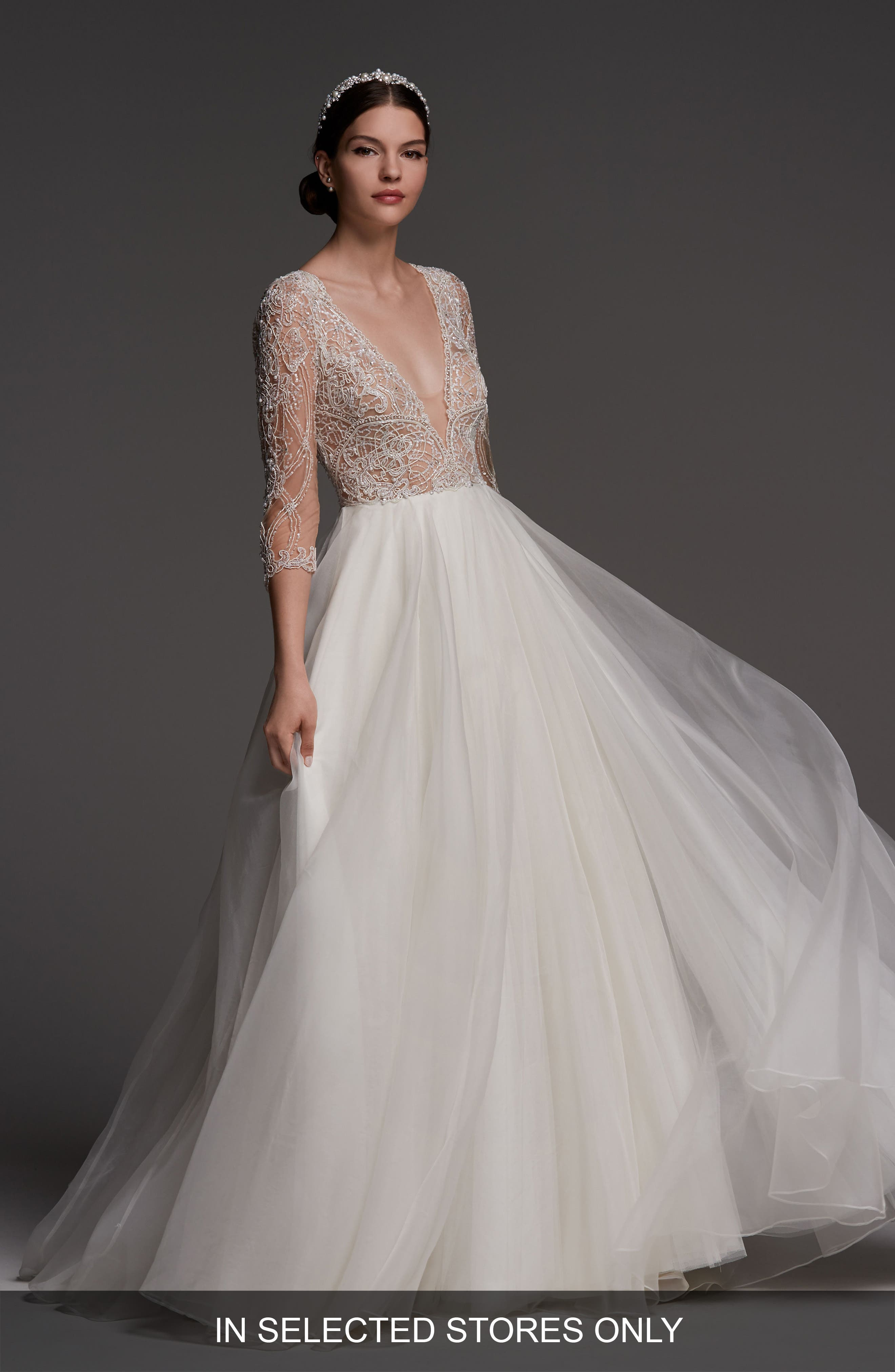Watters Lucretia Beaded Tulle & Organza Ballgown, Size IN STORE ONLY - Ivory