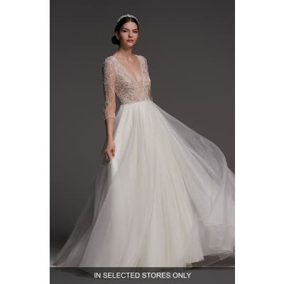 Watters Lucretia Beaded Tulle & Organza Ballgown