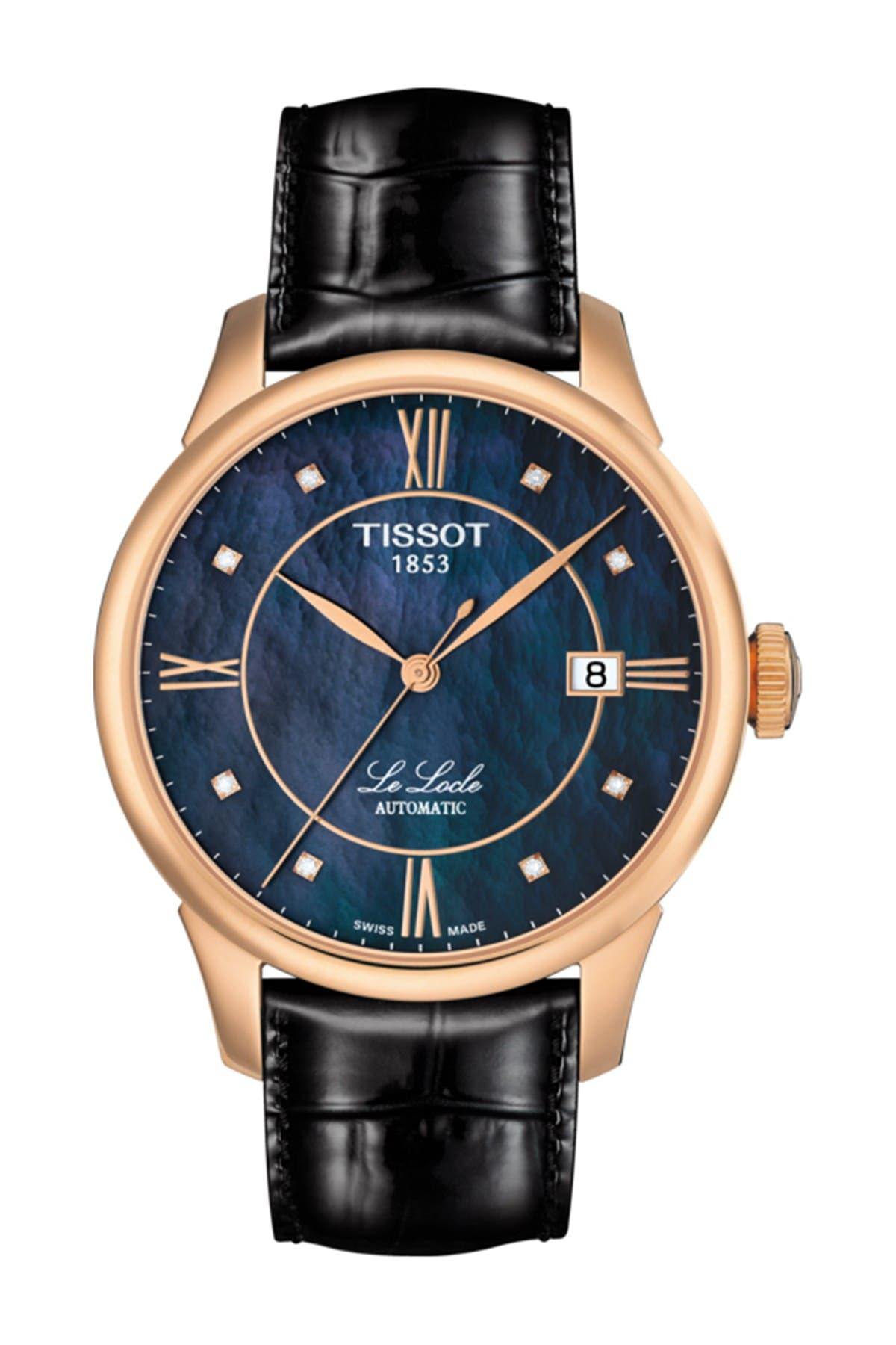 Image of Tissot Unisex Le Locle Automatic Diamond Dial Croc Embossed Leather Strap Watch, 39.3mm - 0.04 ctw