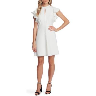 Cece Flutter Sleeve Mock Neck Twill Dress, Ivory