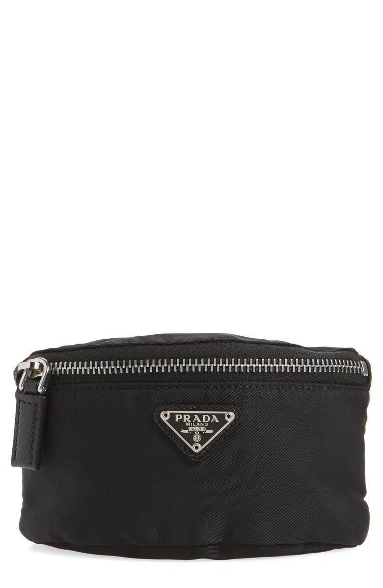 PRADA Tessuto Nylon Doppler Bag, Main, color, NERO