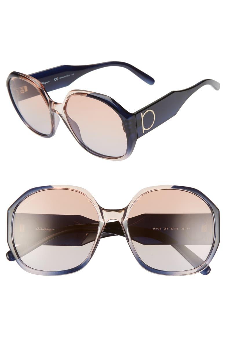 SALVATORE FERRAGAMO Gancio 60mm Geometric Sunglasses, Main, color, GREY ROSE GRADIENT