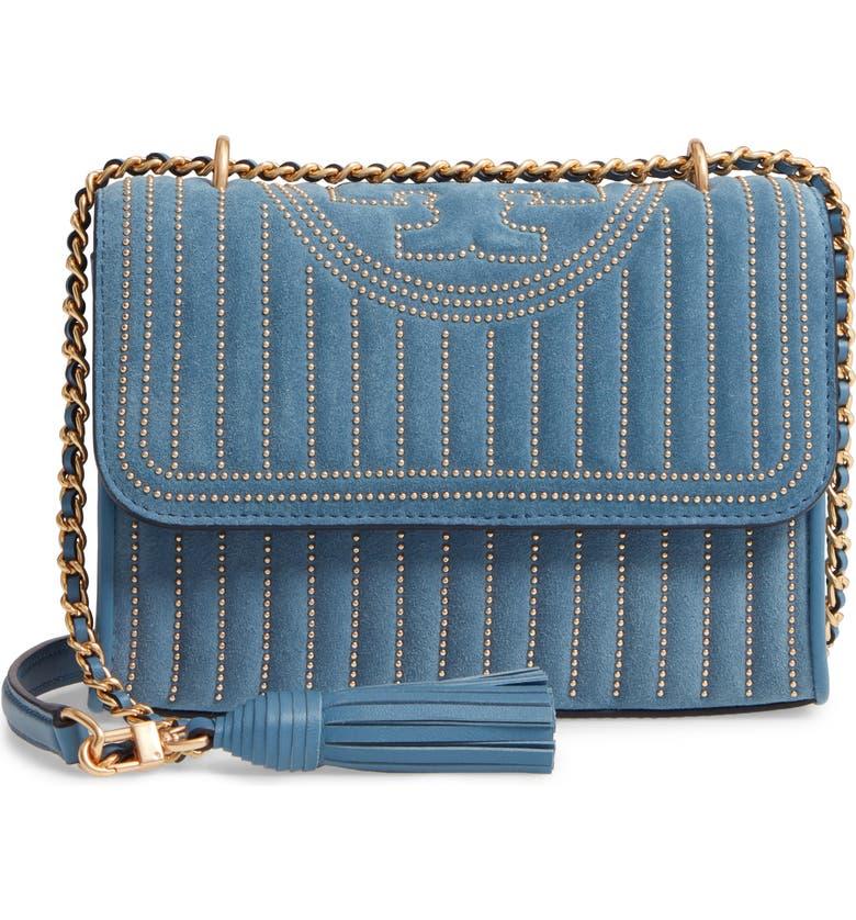 TORY BURCH Mini Fleming Studded Suede Shoulder Bag, Main, color, BLUE YONDER