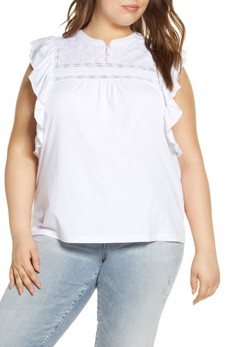CASLON<SUP>®</SUP> Embroidered Yoke Lace Trim Ruffle Top, Main, color, WHITE