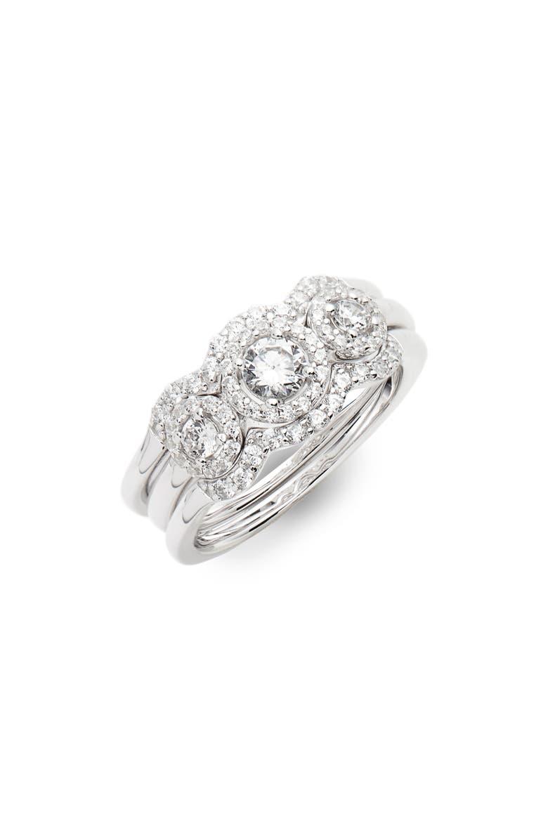 LAFONN Three Stone Halo Engagement Ring & Wedding Band Set, Main, color, SILVER/ CLEAR