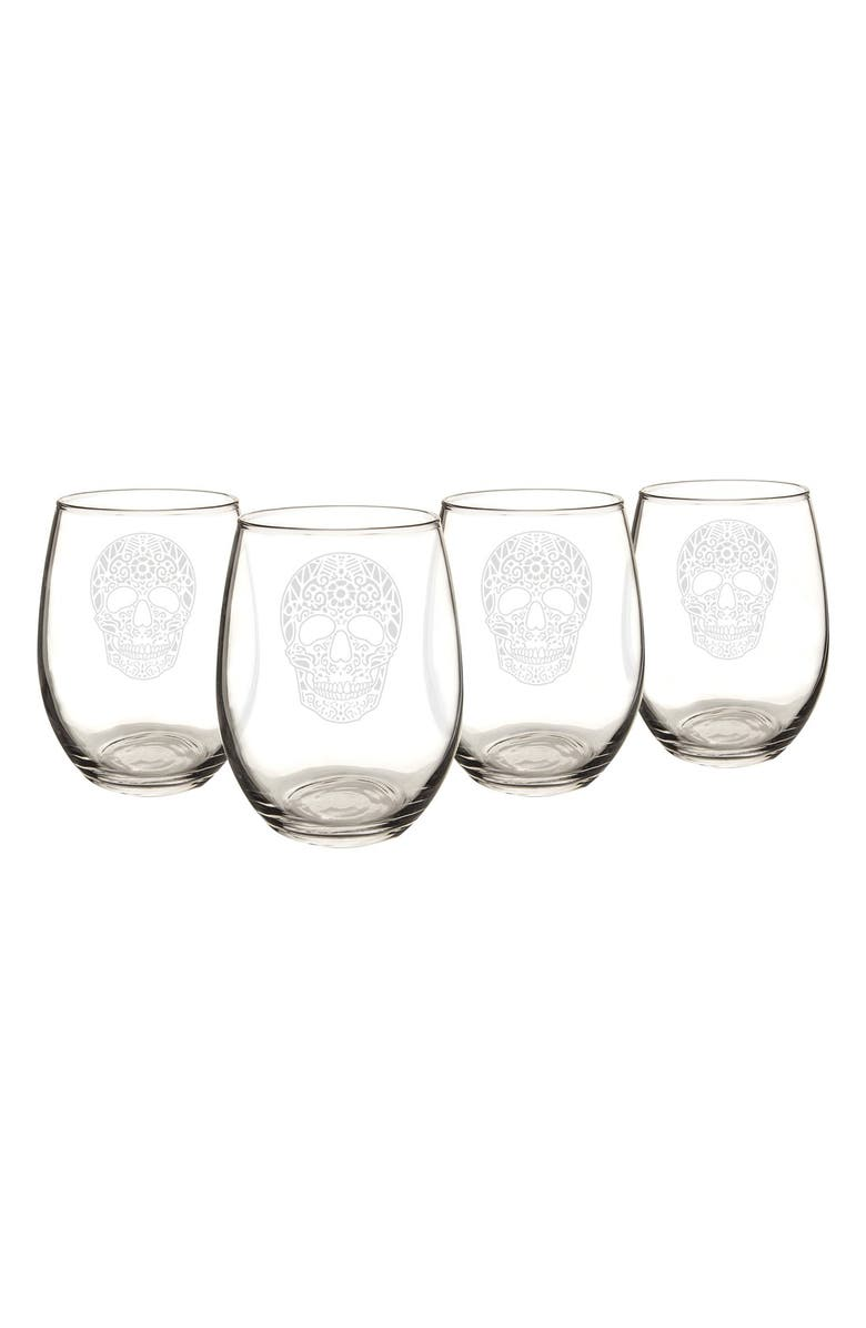 CATHY'S CONCEPTS Sugar Skulls Set of 4 Stemless Wine Glasses, Main, color, 100