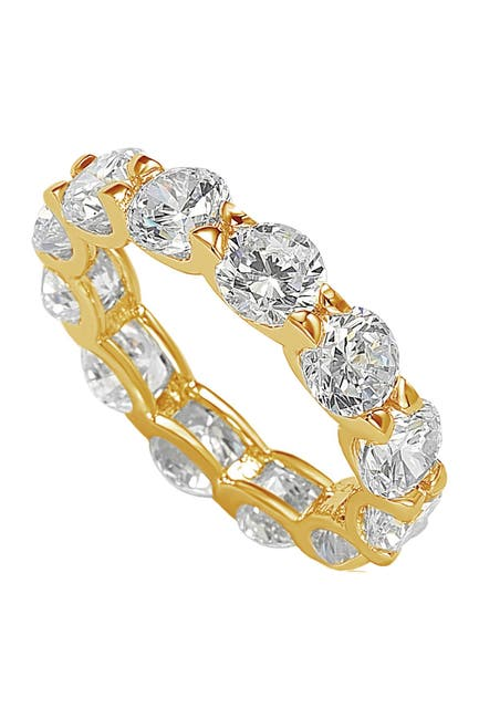 Image of Suzy Levian CZ Round Cut Golden Silver Eterniy Band Ring