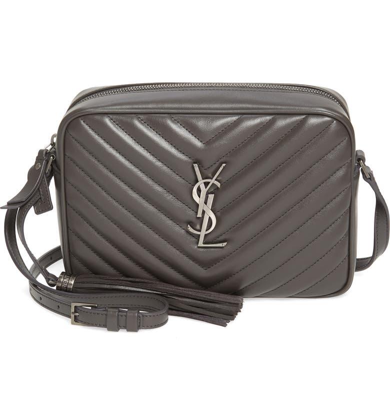 SAINT LAURENT Lou Matelassé Calfskin Leather Camera Bag, Main, color, ASPHALT