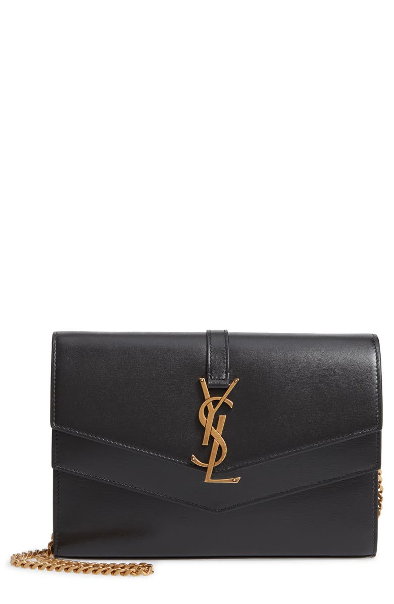 SAINT LAURENT Sulpice Leather Crossbody Wallet, Main, color, NOIR