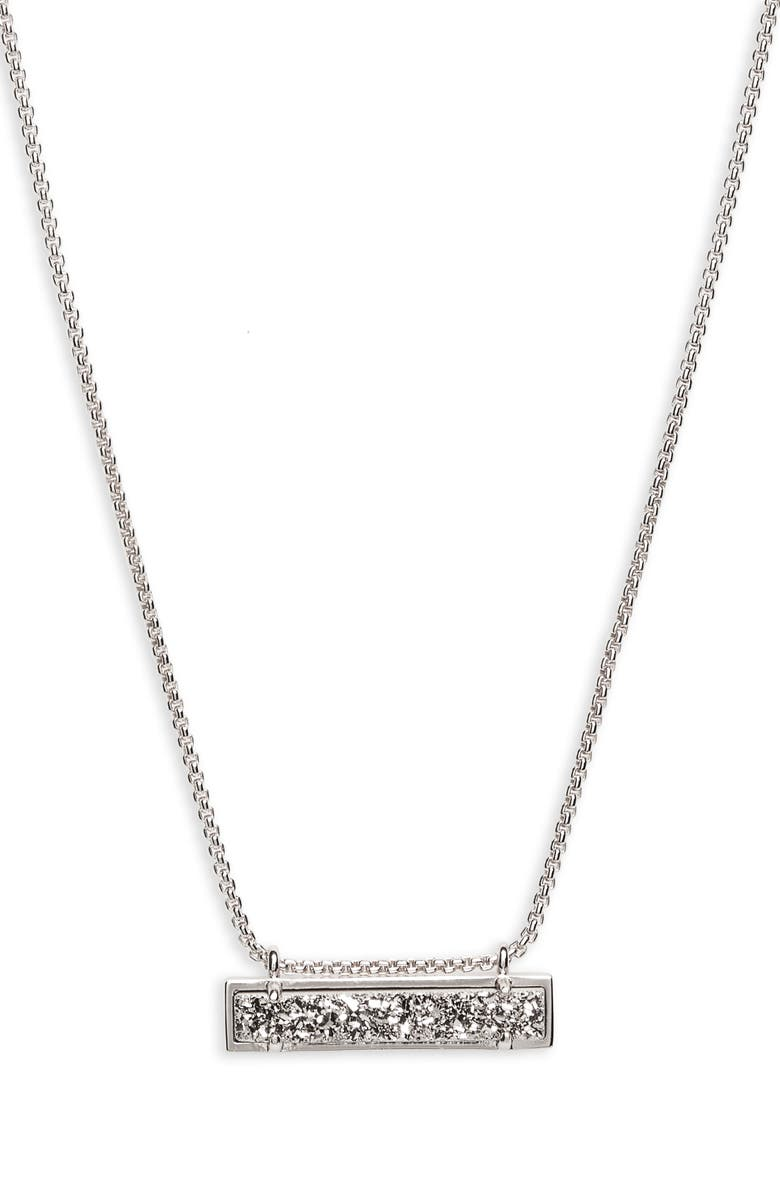 KENDRA SCOTT Leanor Pendant Necklace, Main, color, PLATINUM DRUSY/ SILVER