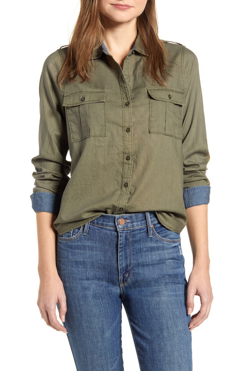 LUCKY BRAND Laura Cotton Twill Utility Shirt, Main, color, BURNT OLIV