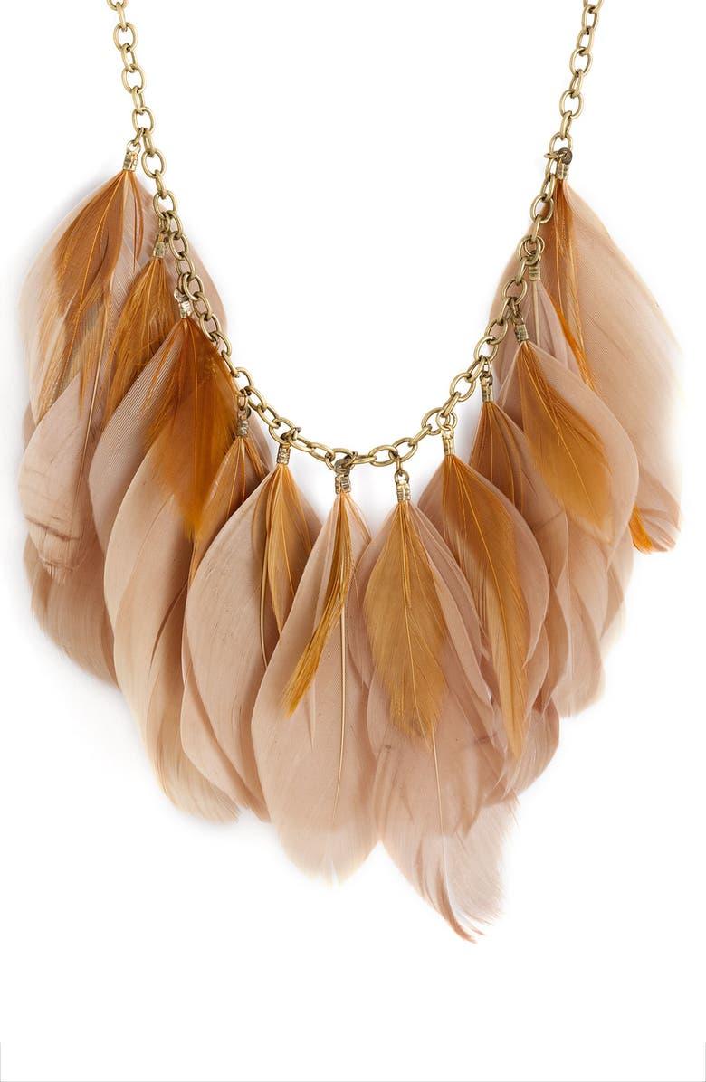 CAROLE Feather Necklace, Main, color, 200