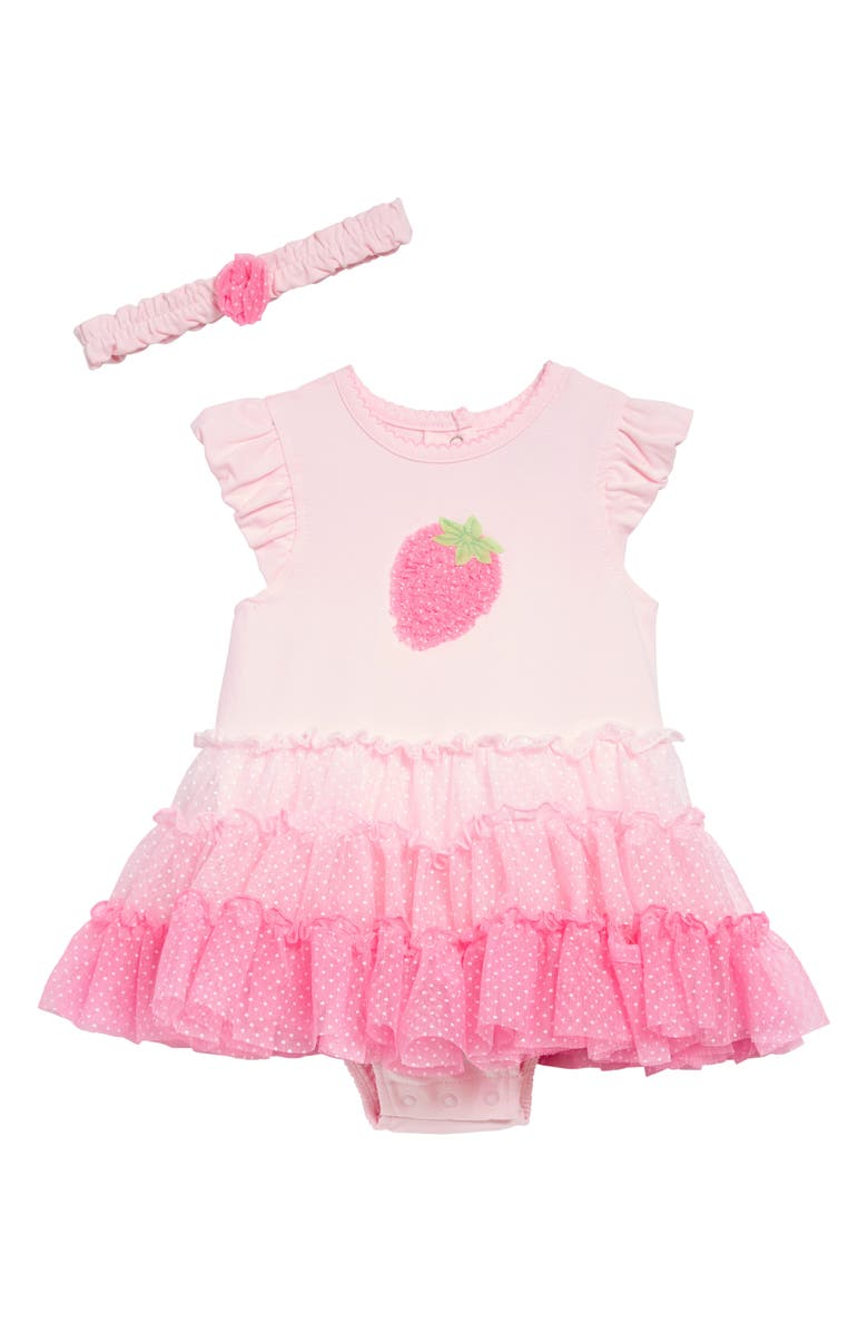 LITTLE ME Strawberry Tutu Popover Bodysuit & Headband Set, Main, color, PINK