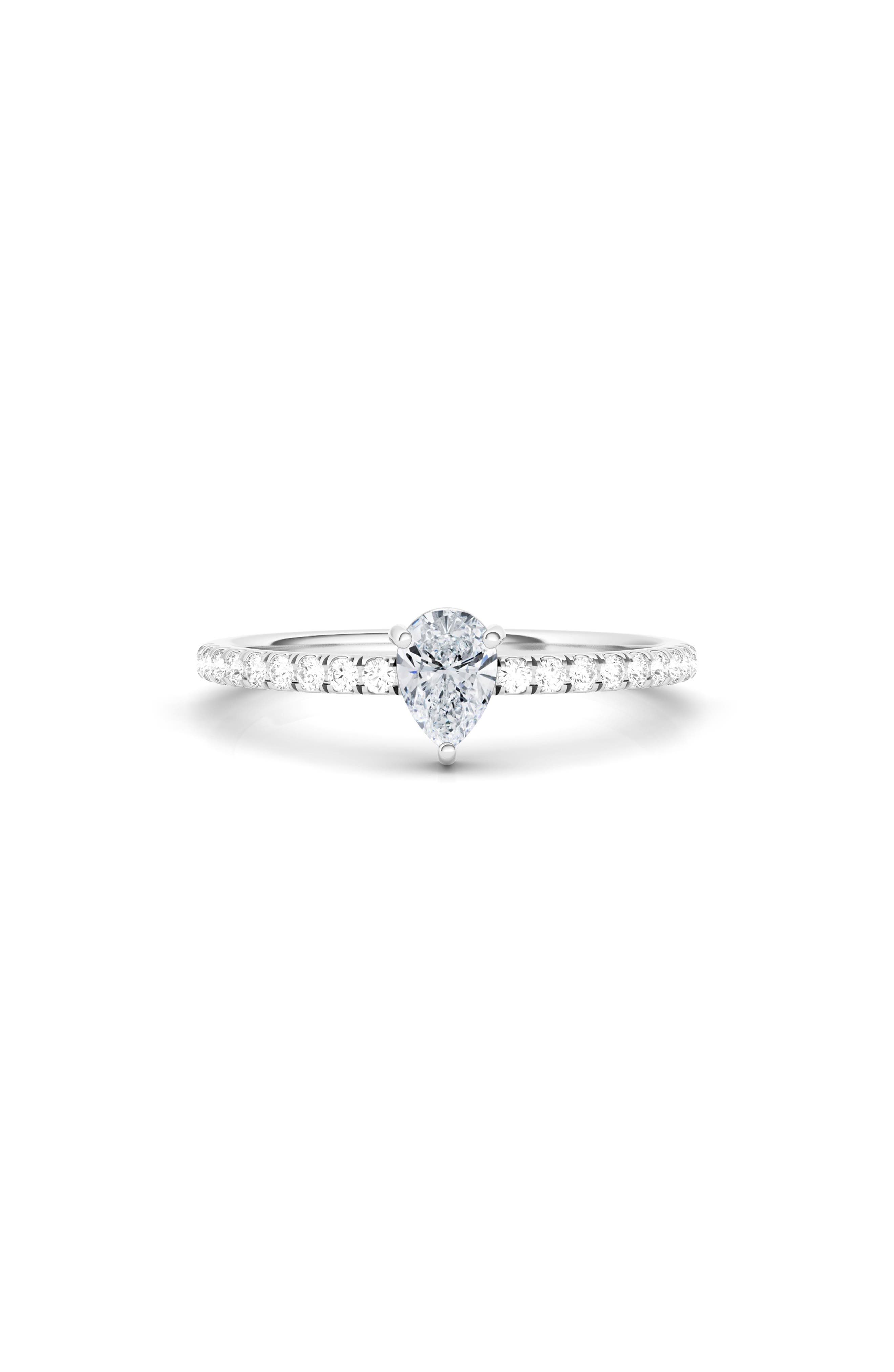 Lab Created Pear Diamond & Pave 14K Gold Ring